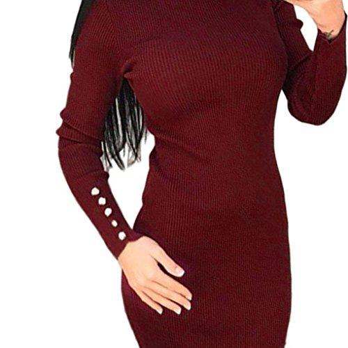 Kleid Damen Hoodie Sunday Lange Ärmel Knöpfe Lässig Knielangen Solide Elegante Farbe Partykleid (Weinrot, L) (Kleid Socken Länge)