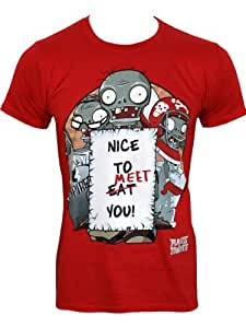 Plants vs Zombies Nice To Meet You Men's Red T-Shirt