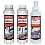 3 Stück Set = 3 x 250 ml Flasche (1x Vinylpflege, 2x Konditionierer) für Doppelbetten...