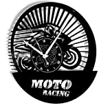 Instant Karma Clocks Horloge Murale en Vinyle Disque LP 33 Tours idée Cadeau Vintage Handmade Instant Karma-Corsa Pista Gara-Moto Racing Silencieux