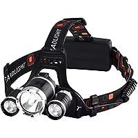 VICTSING, Linterna Frontal LED Alta Potencia 6000 Lúmenes, Tiene 4 Tipos de Luz