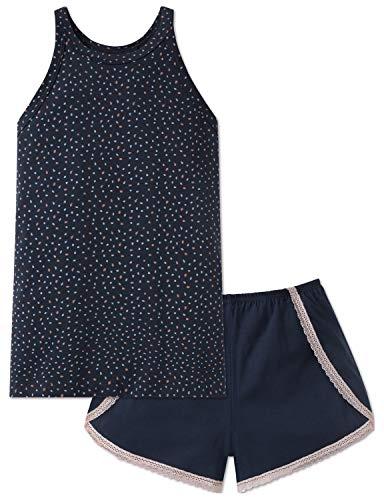 Schiesser Mädchen Anzug kurz Zweiteiliger Schlafanzug, Blau (Blau 800), 164 (Herstellergröße: M)