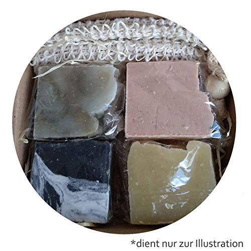 Mijo Mini Seifen Set1 Gästeseifen, Reiseseifen Probierset 100% Naturseife vegan mit Bio Olivenöl + Sisal Seifensäckchen - Flower Soap Bar Seife