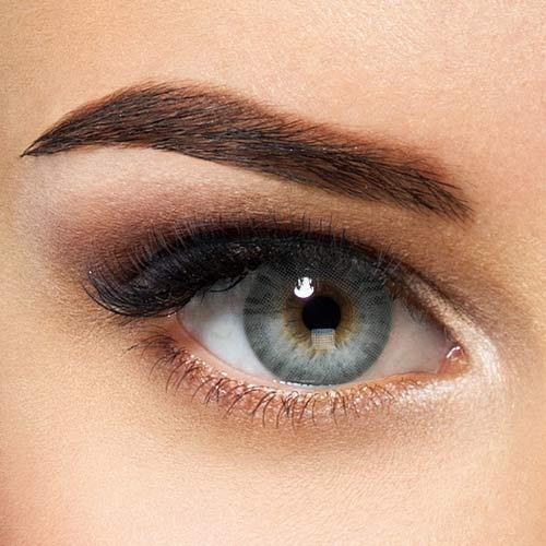 Natürliche Hidrocor farbige Kontaktlinsen Graphite - grau blaue Jahreslinsen ohne Stärke (2 Stück)