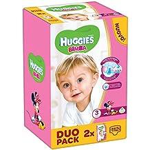 Huggies Bimba, Taglia 3 (4-9 kg), 2 confezioni da 56 [112 Pannolini]
