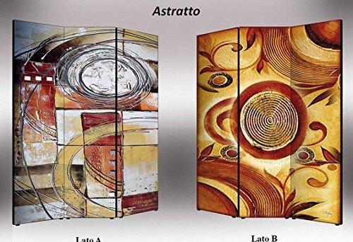 Lupia Separè bifacciale artistico Divisorio Telaio 3 Ante con Stampa su Tela Astratto, Legno, Multicolore, 176x3.2x135.6 cm