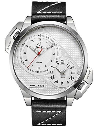 Alienwork Armbanduhr Herren Uhr Leder Armband Lederarmband Lederband schwarz Analog Quarz Herrenuhr silber weiss Wasserdicht XXL Oversized