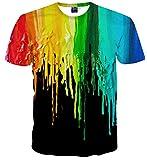 Sykooria T Shirt Damen Herren T-Shirt 3D Druck Grafik Bunte Tinte Kurzarm Paare T-Shirts
