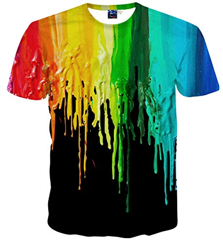 Sykooria Unisex T Shirts 3D Druck Grafik Lustig Bunte Tinte Kurzarm Sommer Damen T-Shirt (Lustig Männer T-shirts)