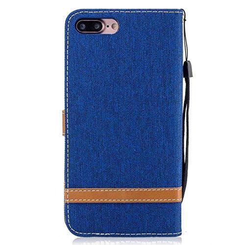 iPhone 7 Plus 5,5Zoll Schutzhülle,iPhone 7 Plus Leder Hülle,TOYYM Ultra Dünn Full Body Protection Flip Leder Wallet Brieftasche Case 3 in 1 Handytasche mit Stand Funktion Kartenfächer Magnetverschluss Blau#2