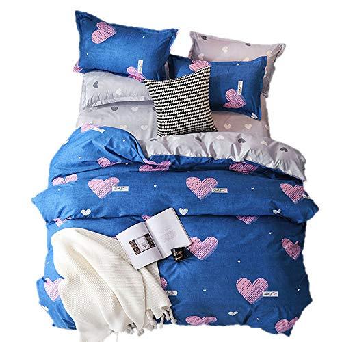Sticker superb Bettbezug Set Romantisch Süss Herz Blau/Schwarz /Weiß, Mikrofaser Polyester Bettwäsche Set mit Kissenbezug