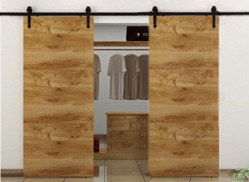 Preisvergleich Produktbild hahaemall 10ft/304,8cm gerade Design Schwarz Country Barn Holz Stahl Schiebetür Double Door Hardware Closet Set