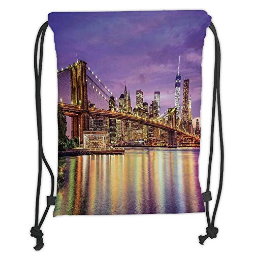 GONIESA Drawstring Sack Backpacks Bags,New York,NYC Exquisite Skyline Manhattan Broadway Old Neighborhood Tourist Country Print,Purple Gold Soft Satin,5 Liter Capacity,Adjustable String Closure