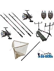 Lot de pêches 2x Canne à carpe de 3,60m 3 lbs 50–120g 2x Moulinet 2x détecteur de touche électronique 1x rodpod 1x Épuisette à carpes 1x Épuisette télescopique de 2,20m