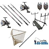 Juego de 2kits de pesca con cañas de 3,60m, 1,25 kg, 40 - 90g, 2carretes, 2indicadores de picada electrónicos, soporte para cañas, red, ganchos y barra para red