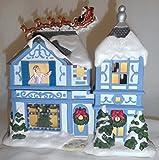 1a PartyLite P8651 WEIHNACHTEN Teelichthaus mit Spieluhr --- WEIHNACHTSÜBERRASCHUNG --- Merry Christmas --- Biskuitporzellan --- 21x22x16 cm