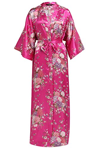 BABEYOND Damen Morgenmantel Maxi Lang Seide Satin Kimono Kleid Blütenkirsche Muster Kimono Bademantel Damen Lange Robe Blumen Schlafmantel Girl Pajama Party 135 cm Lang (Rose Rot)