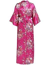 BABEYOND Damen Morgenmantel Maxi Lang Seide Satin Kimono Kleid Blütenkirsche Muster Kimono Bademantel Damen Lange Robe Blumen Schlafmantel Girl Pajama Party 135 cm Lang