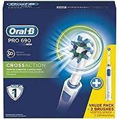 Oral-B Pro 690 Elektrische Zahnbürste, mit 2. Handstück, CrossAction Aufsteckbürste