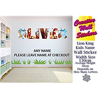 Lion King Wall Art Sticker Any Name Wall Sticker Children's Bedroom XX Large.ARGE.