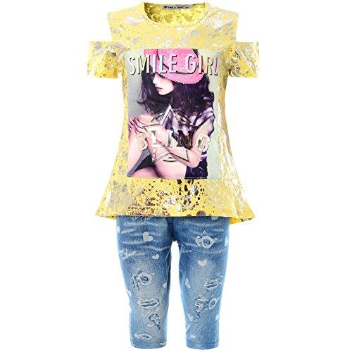 BEZLIT 2tlg Mädchen Set Capri-Hose T-Shirt Outfit 21777, Farbe:Gelb, Größe:128 (Capri-outfit Sommer)