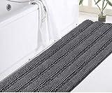 DomoWin Tappeto da Bagno Tappetino Bagno Antiscivolo Materiale in Microfibra, Morbido ed Elastico Lavabile in Lavatrice Tappeto Bagno Camera (Grigio Scuro, 43_x_120_cm)