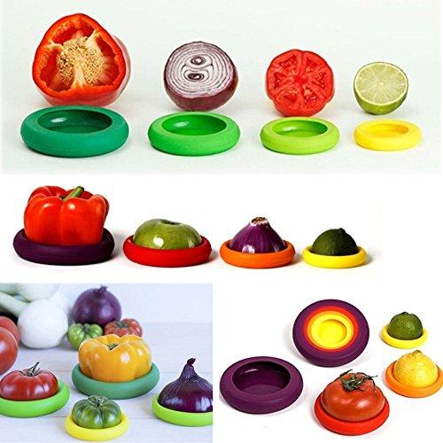 Silikon Wiederverwendbar Gemüse Obst Speisen Aufbewahrung Container Gläser Flaschen Deckel ()