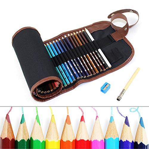 48 Farben Aquarell-Bleistifte - PUPOUSE Professionelle Wasserlösliche Buntstifte mit Praktischer Rollmappe, für Kunstzeichnungen, Skizzen, Malbücher für Erwachsene -