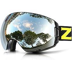 ZIONOR Lagopus X7 Gafas de esquí con Fast Lente Cambiante Protección UV400 Anti Niebla Lente Gran PC Esférica Antideslizante Correa Casco Compatible Adulto Snowboard Patinaje Gafas de Nieve