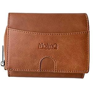 Geldbörse Damen aus Echtem Leder   Geldbeutel mit 7 Kartenfächern, Scheinfach, Münzfach und zusätzlicher Stauraum   Portemonnaie mit RFID Schutz   Braun