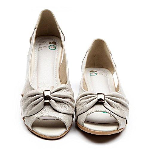 Paris Hill Sommer Flache Peep Toe Pumps Slip auf Schuhe Beige