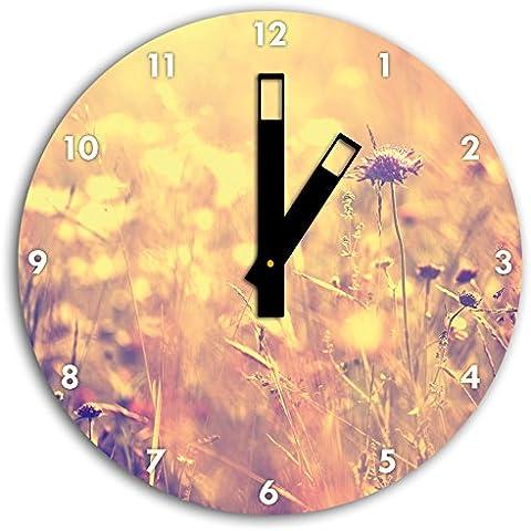 Belle erbe in luce del sole, a parete diametro 30 centimetri orologio con il nero squadrate le mani e il viso, oggetti decorativi, Designuhr, composito di alluminio molto bello per soggiorno,