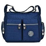 Tibes Sacs à bandoulière imperméables Sac Messenger pour femme Crossbody Bag Nylon Petit sac de voyage Bourse Bleu profond