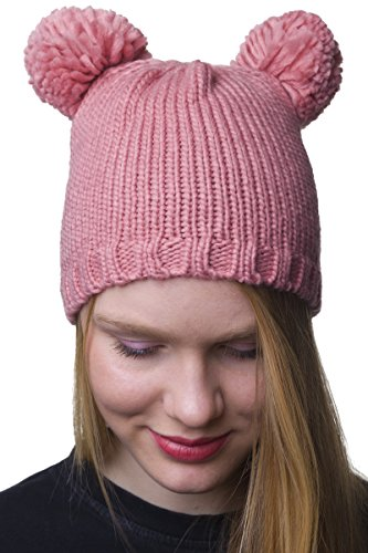Shenky Beanie Mütze mit Bommel (Rosa Mikky)