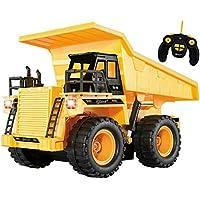 Camion - benne radiocommandé entièrement fonctionnel à 5 canaux Top Race®, camion- benne porteur de chantier jaune radiocommandé à piles, avec sons et lumière(TR-112)