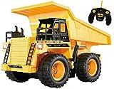 Top Race® 5-Kanal voll funktionstüchtiger RC Ladelaster,Ferngesteuertes Auto, RC Auto, batteriebetriebene Fernbedienung, stabiler gelber Bauladelaster mit Lichtern und Geräuschen (TR-112)