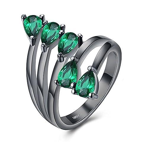 Bague De Pierre Gemme Vert De Mariage d'Anniversaire De Cinq d'Arbre De Diamant