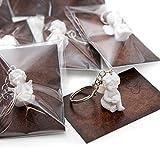 20 Stück kleine weiße Mini-Engel Schutzengel Engel-Anhänger Weihnachten Hochzeit Kinder-Geburtstag 3,5 cm Gips + Mini-Karte Lederoptik braun ZWEI HERZEN - Mitgebsel give-away