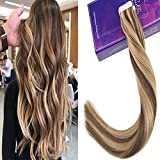 LaaVoo 18 Zoll Human Hair Extensions Tape in #P6/27 Medium Brown Mixed Caramel Blonde 100% Remy Menschenhaarverlängerungen 20 s/Paket 50 Gramm