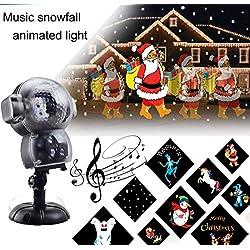 BASDT Projecteur d'animation Noel Neige- 8 Effet d'animation/Lecteur de musique/Effet de chute de neige/Télécommande - Anime conduit LED Chute de neige Lumière pour Halloween/Noël