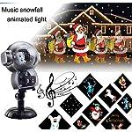 BASDT Proiettore animato luci led natalizie - 8 effetti di animazione/lettore musicale/effetto neve caduta/telecomando - Anime Natale Proiettore Luci della Neve per halloween/natale