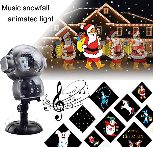 BASDT LED Anime Schneeflocke Projektor - 8 Animationseffekt/Musik Player/Schnee Falling Effect/Fernbedienung - Animierte Schneefall Projektor Licht für Halloween/Weihnachten