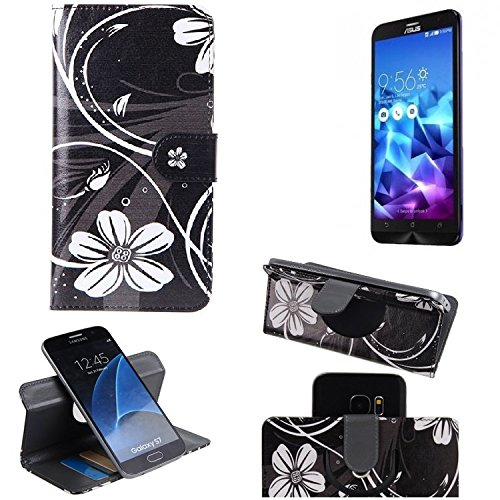 K-S-Trade Schutzhülle für Asus ZenFone 2 Deluxe Hülle 360° Wallet Case Schutz Hülle ''Flowers'' Smartphone Flip Cover Flipstyle Tasche Handyhülle schwarz-weiß 1x