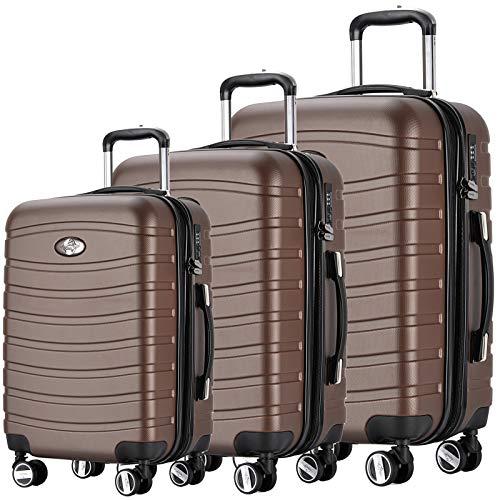 Andreas Dell REISEKOFFER REISEKOFFERSET Trolley Koffer 3 Set XL L M Kofferset REISEKOFFER Coffee TSA Schloß (Kofferset Mit Tsa-schloss)