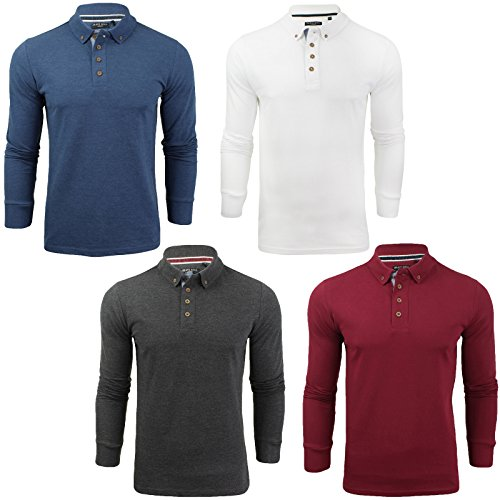 Mens Brave Soul Herae Collared Polo Long Sleeved Top
