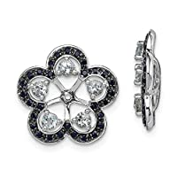 925 Sterling Silver Rhodium plated Aquamarine and Black Sapphire Earrings Jacket Jewelry Gifts for Women