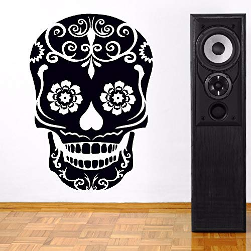 zqyjhkou Decorazioni per la casa Vinile Clear Dead Skull Logo Wall Sticker Day Vinile Wall Art Design murale Cranio Modello Decorazioni per la casa34.8X50.4CM