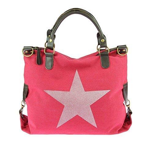 OBC ital-design Stern Tasche Handtasche Leder Damentasche Baumwolle CrossOver Schultertasche Sportliche Tasche Umhängetasche Henkeltasche Shopper DIN-A4 (Rot) (Patchwork-shopper)