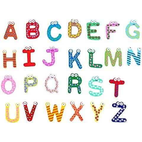 DEHANG 26 Imanes para Refrigerador Nevera A-Z Letras de alfabeto de Madera Magnética Números animados Juguetes Educativos para niños