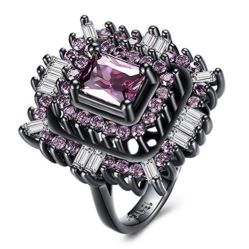 arz Gewehr Farbe Ring Rosa Quadrat Zirkon Ring Mode Verlobungsfeier Ring Weiblich, 6 ()